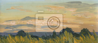 Canvas print Summer sunset. Oil painting