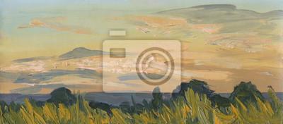 Summer sunset. Oil painting