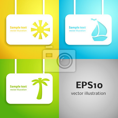 Sun, sail boat and palm tree applique background set.