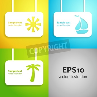 Sun, sail boat and palm tree applique background set illustration for your holiday design  Banner of simple bright symbols of vacation for your presentation