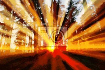 Sunbeams lighting through trees at sunset - oil painting