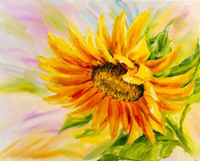 Canvas print Sunflower, oil painting on canvas
