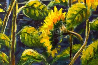 Canvas print sunflowers in sun Original oil painting of sunflower flowers, beautiful sunflowers flowers on canvas. Modern Impressionism.Impasto artwork.