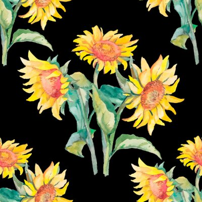 Canvas print Sunflowers pattern watercolor.