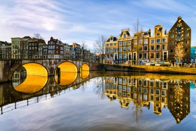 Canvas print Sunny morning in Amsterdam, Netherlands
