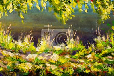 Sunny spring big green grass in sun texture fragment macro. Summer landscape. Oil painting, impressionism floral artwork. Palette knife.