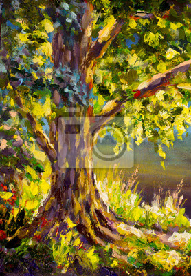 Sunny spring big green tree, tall grass in sun. Summer landscape. Oil painting, impressionism floral artwork. Palette knife art.