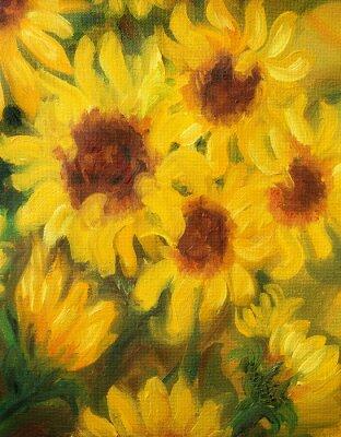Canvas print Sunny Sunflowers  Oil painting on canvas.