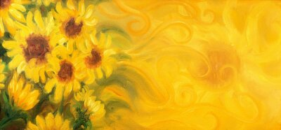 Canvas print Sunny Sunflowers with sun and ornaments. Oil painting on canvas.
