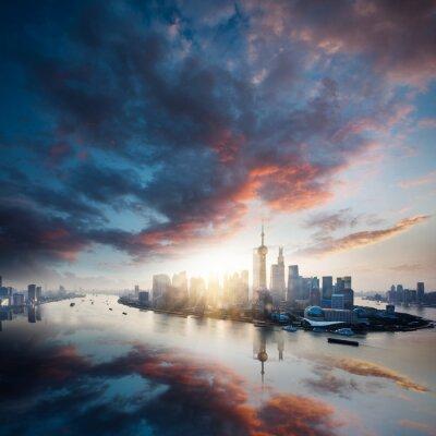 Canvas print sunrise city