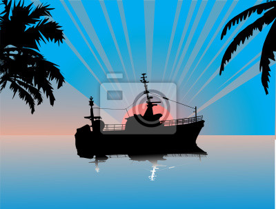 sunset above sea with ship