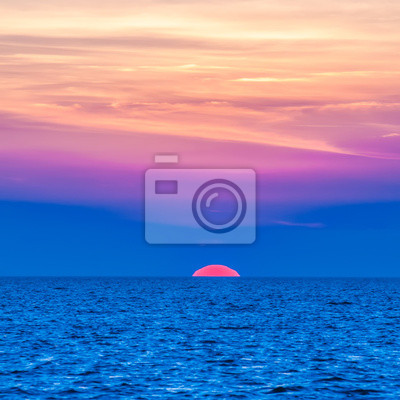 sunset at sea with multiple color prizm