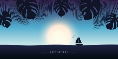 sunset at sea with yacht marine nature landscape with sailboat and palm leaf vector illustration EPS10