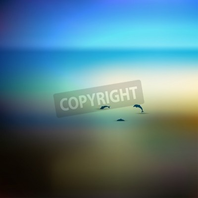 Sunset beach  Sea with dolphins  Vector background illustration