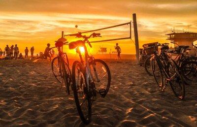 Canvas print sunset beach volleyball at venice beach