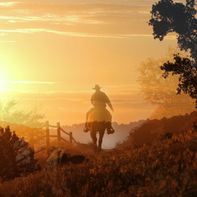 Canvas print Sunset Cowboy.  A cowboy rides off into the sunset in transparent layers of orange and yellow clouds, a fence and trees.