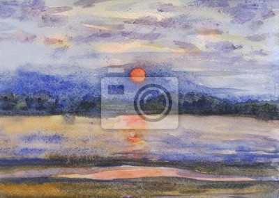 Sunset, evening, landscape, orange sun over the mountains . Watercolor painting