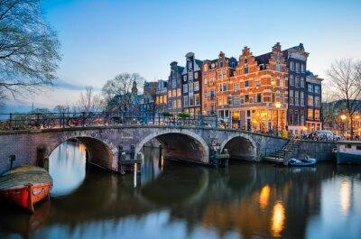 Canvas print Sunset in Amsterdam, Netherlands
