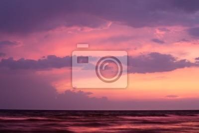 Sunset on sea with purple sky. Black Sea, Russia