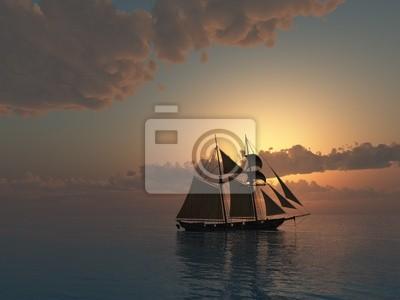 Sunset on Sea with Schooner