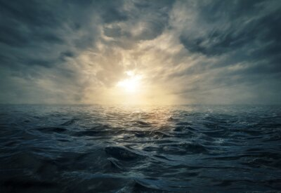 Canvas print Sunset on stormy sea