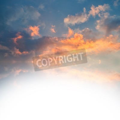 Sunset over sea with reflection in water, colorful clouds in the sky with place for your text