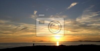 Sunset over St Brides Bay, St Davids , Ramsey island,