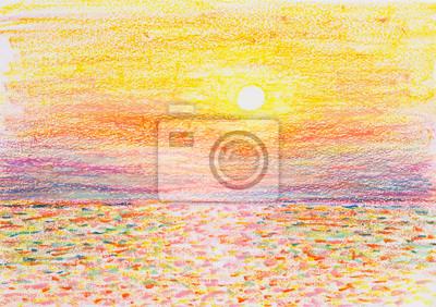sunset seascape oil pastel painting