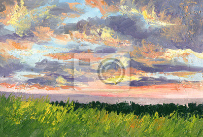 Sunset. Summer landscape. Clouds illuminated by the sunlight. Summer landscape. Oil painting
