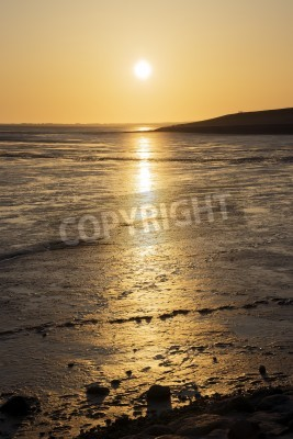 Sunset Wadden Sea with the North Sea in Germany