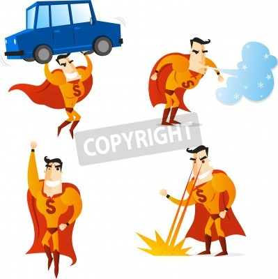 Superhero using four different powers in four different situations, lifting a car, flying, making wind and setting fire, with orange suit and cape, vector illustration.