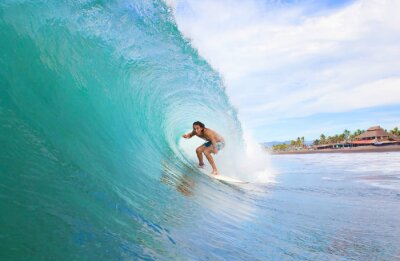 Canvas print Surfer in a tube