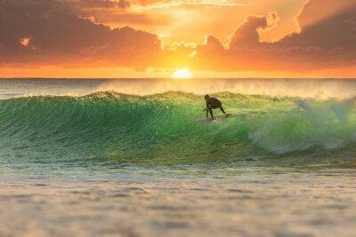 Canvas print Surfer Surfing at Sunrise