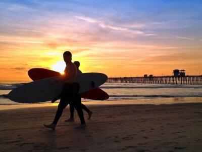 Canvas print Surfers Sunset Oceanside Pier Beach San Diego California USA