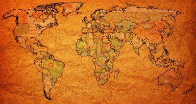 Canvas print surinam territory on world map