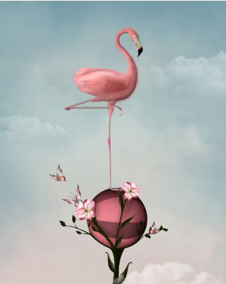 Canvas print Surreal composition with flamingo and flowers