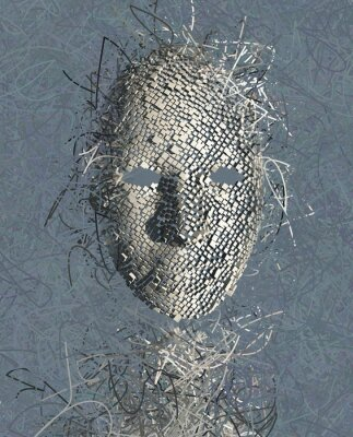 Canvas print Surreal Mask ABstract with Many Wires