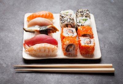 Canvas print Sushi and maki set
