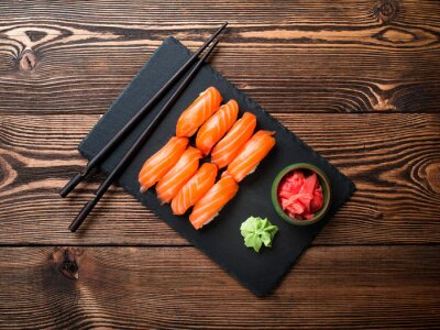 Canvas print Sushi with salmon