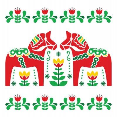 Canvas print Swedish Dala or Daleclarian horse folk art pattern