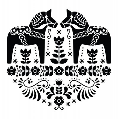 Canvas print Swedish Dala or Daleclarian horse folk pattern in black