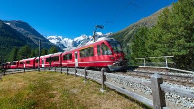 Canvas print Swiss mountain train Bernina Express crossed Alps
