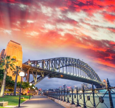 Canvas print Sydney Harbour Bridge with a beautiful sunset, NSW - Australia