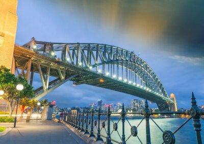 Canvas print Sydney, New South Wales. Amazing sunset view of Harbour Bridge