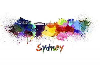Canvas print Sydney skyline in watercolor