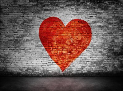 Canvas print Symbol of love painted on murky brick wall