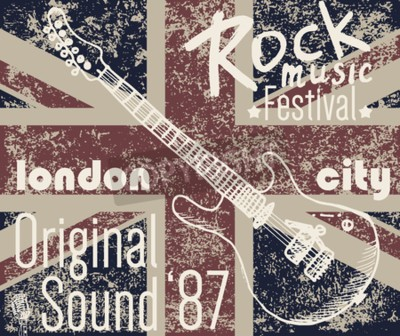 Canvas print T-shirt Printing design, typography graphics, London Rock festival vector illustration with  grunge flag and hand drawn sketch guitar Badge Applique Label.