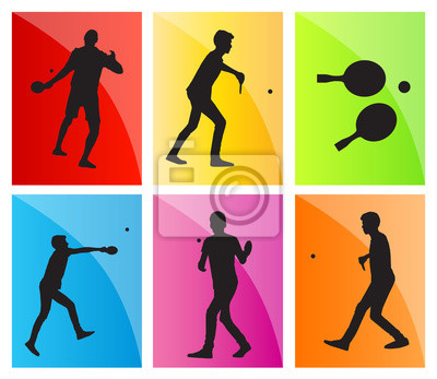 Table tennis player silhouette ping pong set vector background