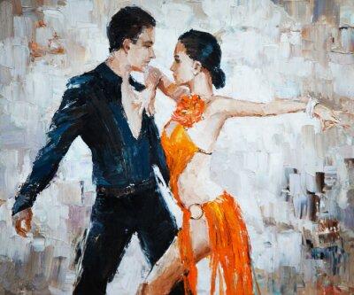 Canvas print tango dancers digital painting, tango dancers