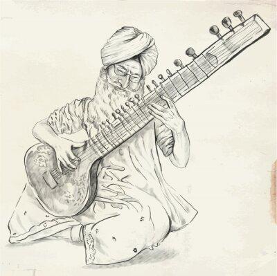 Canvas print Tanpura Player - vector illustration (converted)